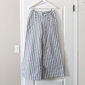 Pinstripe Wide Leg Sailor Pants